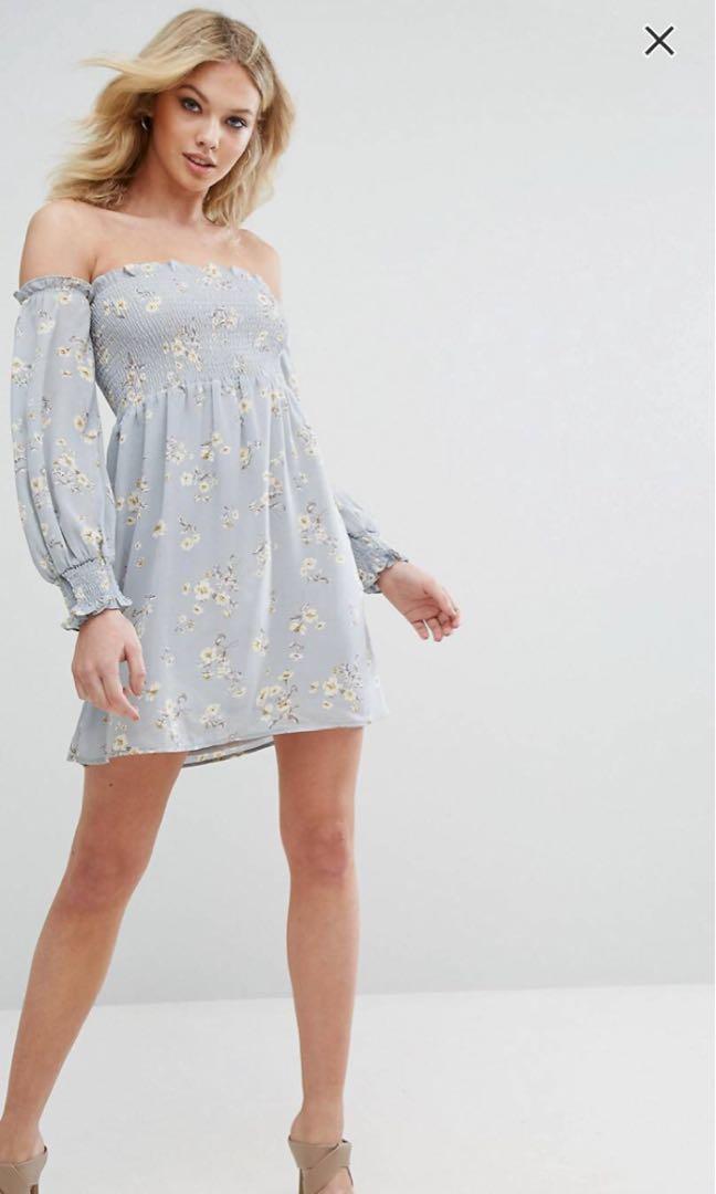 ebcbe570083 ASOS Bardot Bell Sleeve Floral Dress