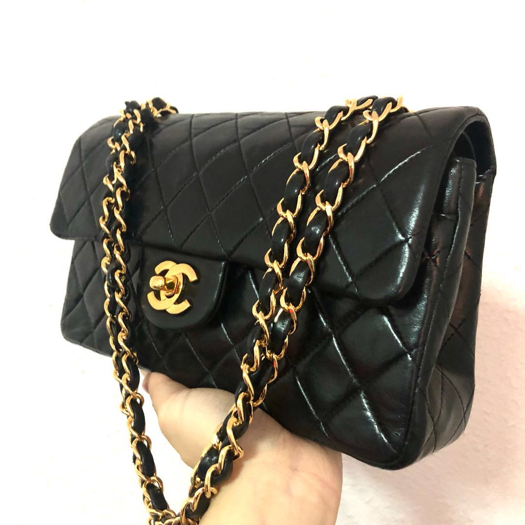 Authentic Chanel 9 Inch Lambskin Classic Flap Bag 85171c2b21ff5