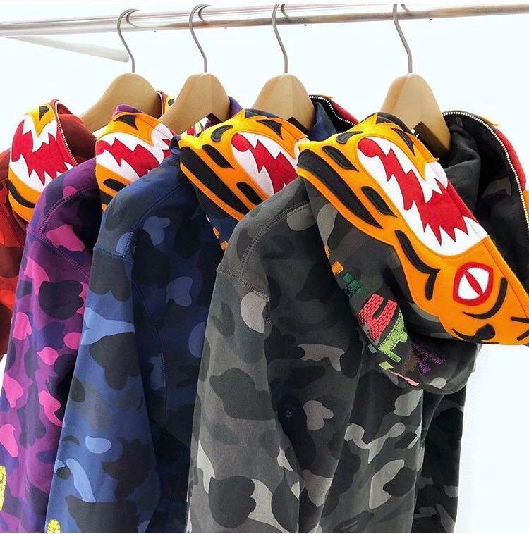 fb7033f371f4 Bape color camo tiger full zip hoodie