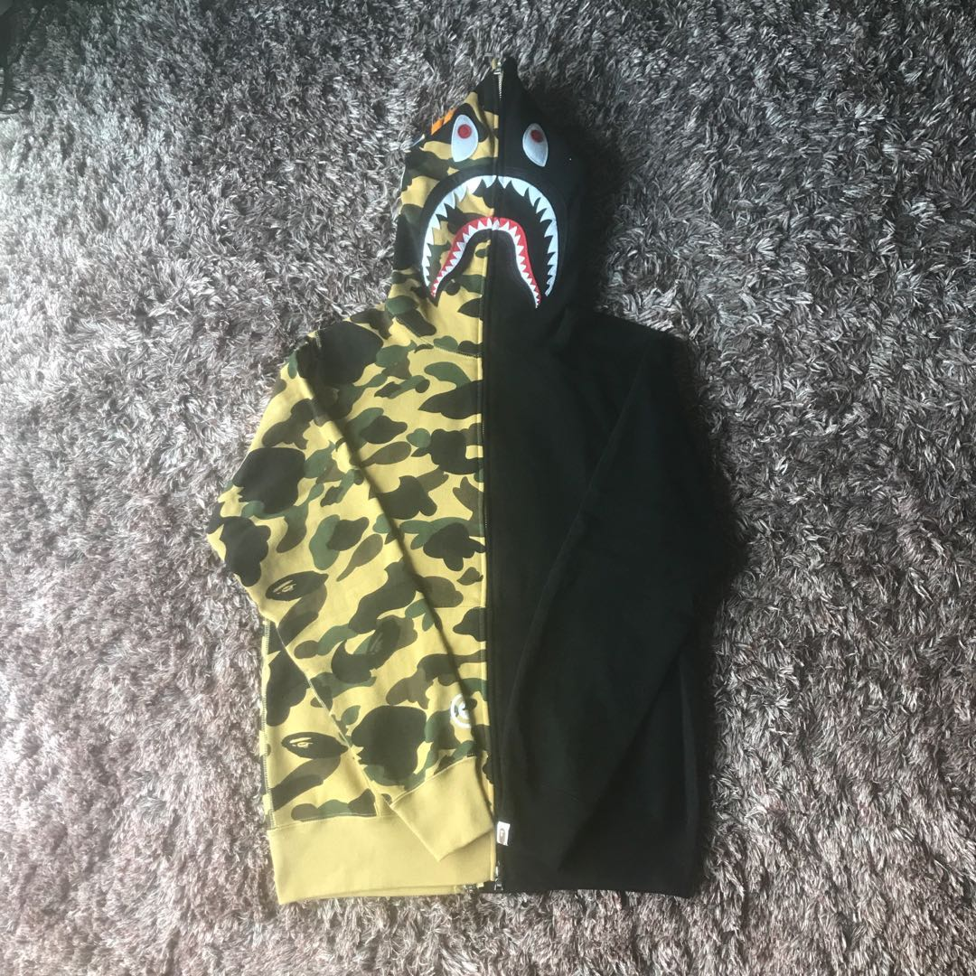 e46b4517 Bape WGM Yellow Half Camo Shark Full Zip Hoodie, Men's Fashion ...