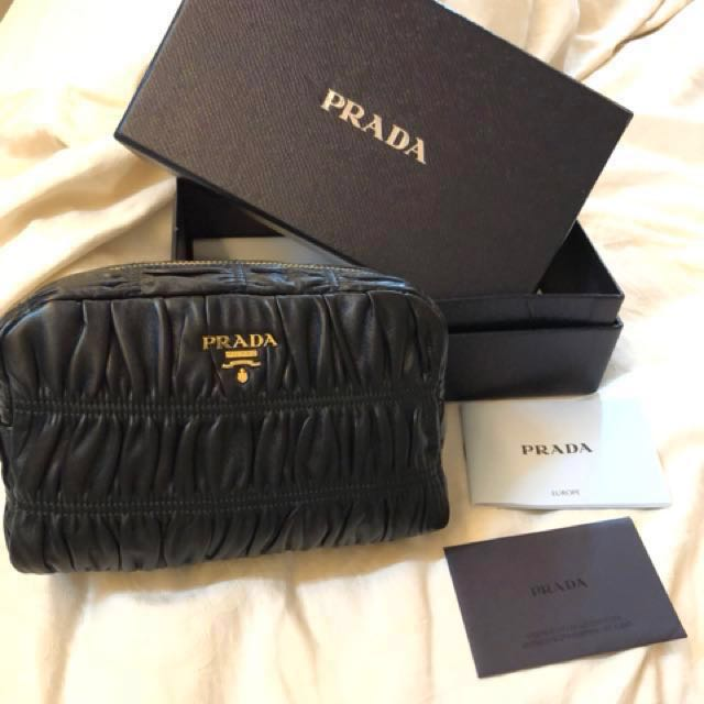 14224ab375f3 Brand new Prada leather pouch /case, Luxury, Bags & Wallets on Carousell