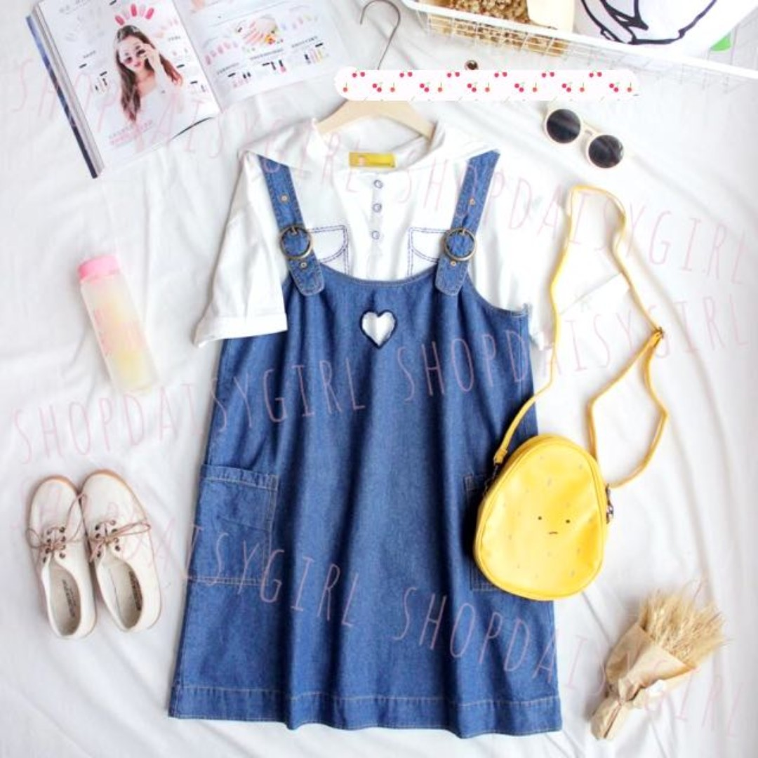 6f05beeefa8 🌸Denim Blue Embroidered Heart Cut Out Pinafore Dungaree Overalls ...