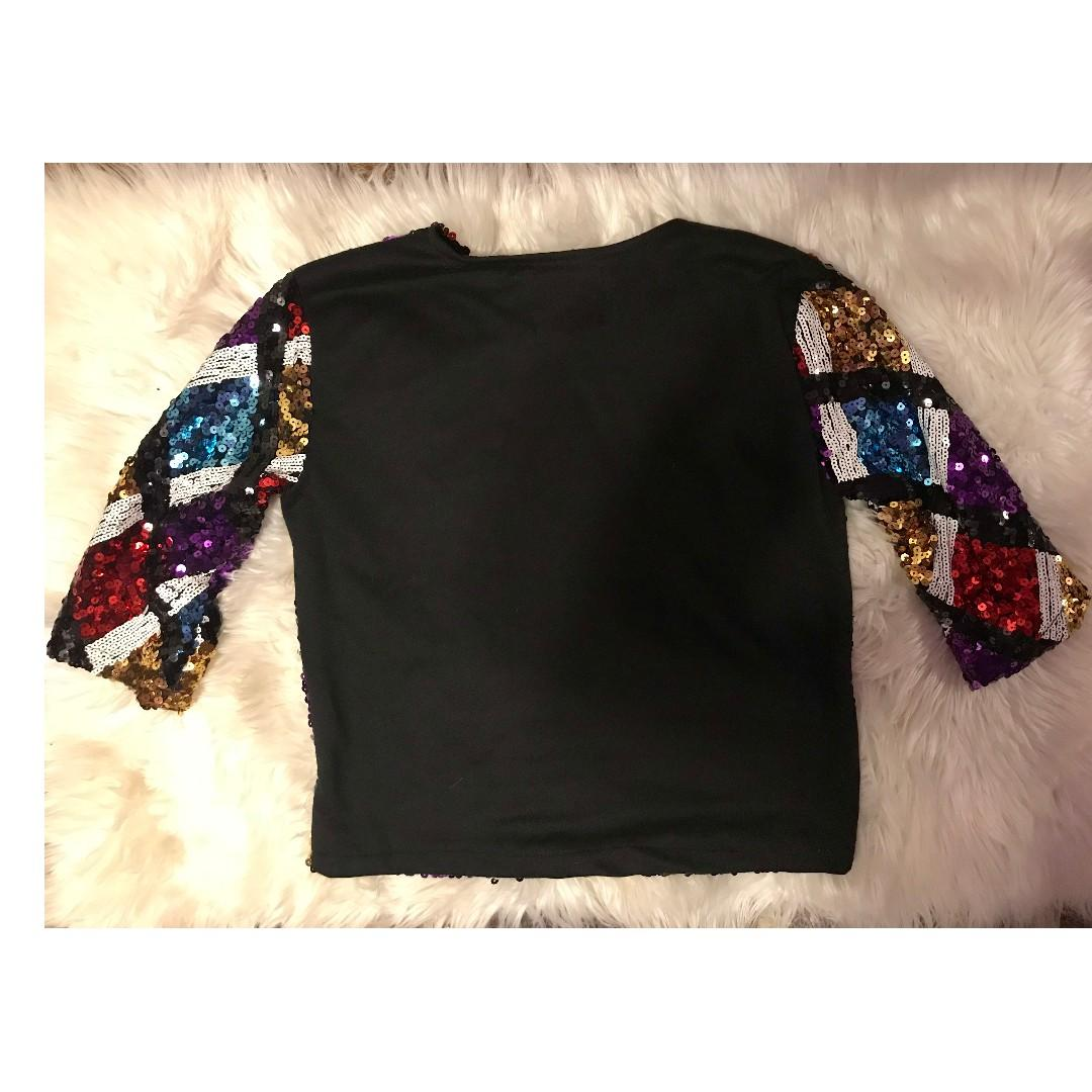 Divine Comedy - Multi Coloured Sequence 3/4 Length Top - ONE SIZE