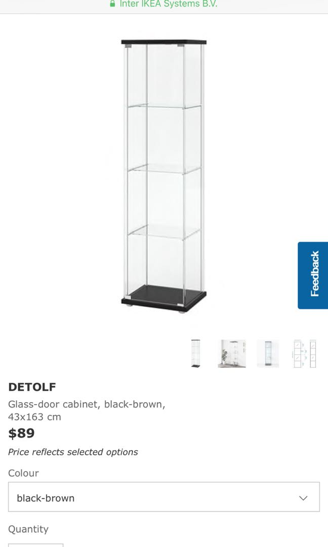 Ikea Detolf Glass Display Cabinet Furniture Shelves Drawers On