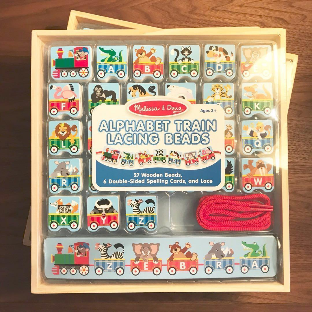 and 1 Lace 9497 27 Wooden Train Beads Melissa /& Doug Alphabet Train Lacing Beads 6 Pattern Cards