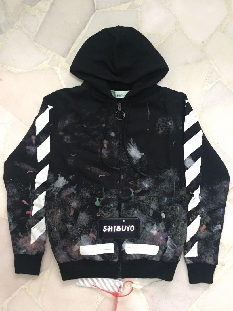 Instock] Off White Galaxy Brushed Zip Up Hoodie, Men's