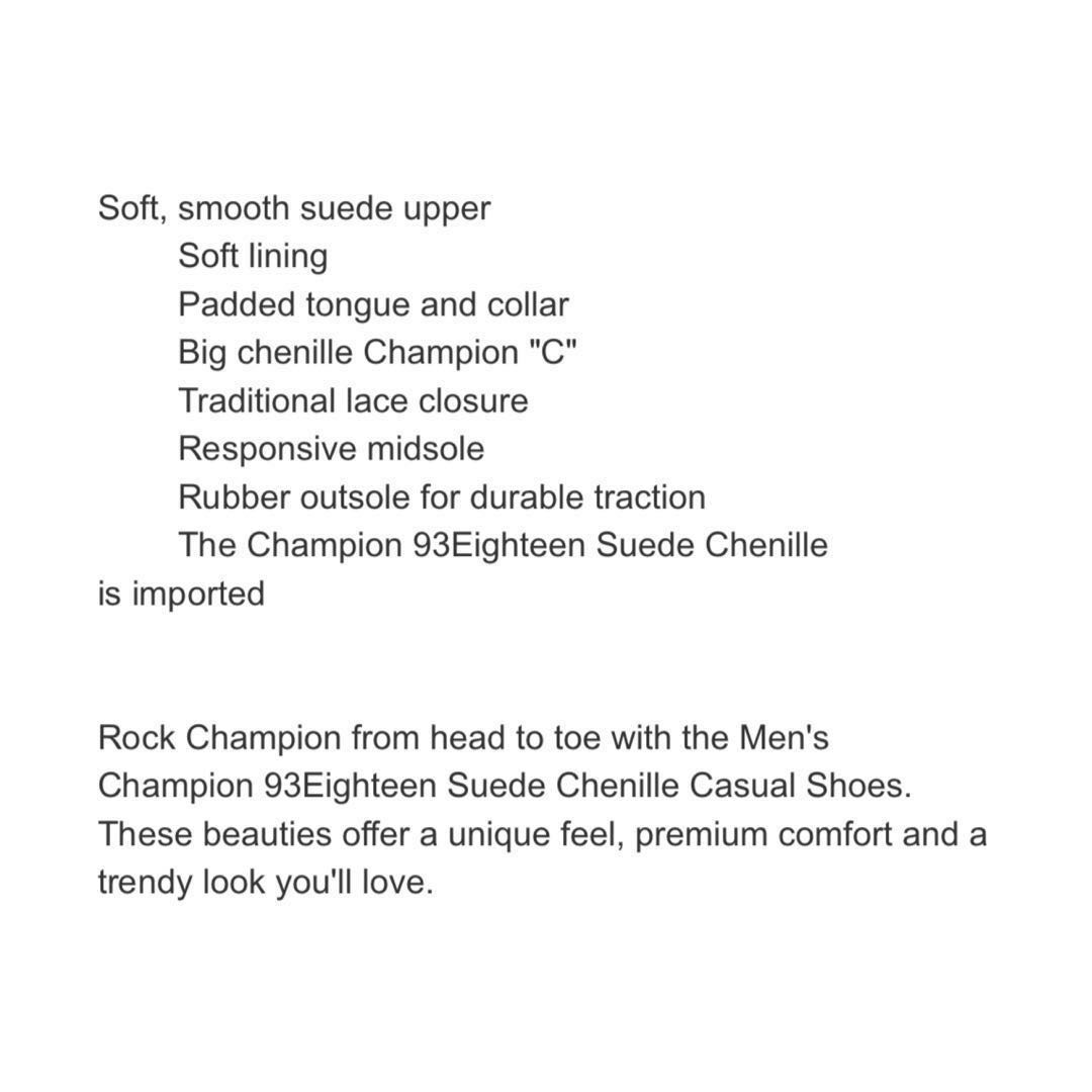 86d4241fb0d6 Men s Champion 93Eighteen Suede Chenille Casual Shoes