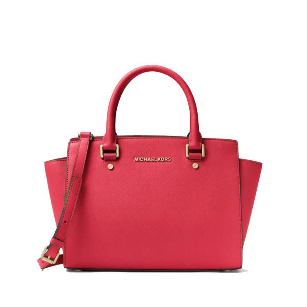 a0216354c73a NEW ARRIVAL Michael Kors Selma Medium Satchel Deep Pink, Luxury ...