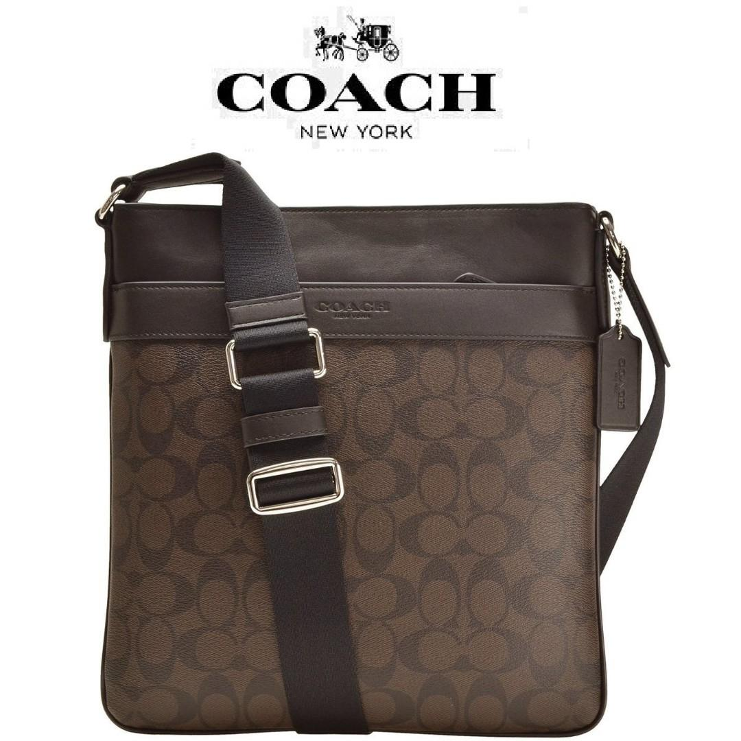 New Authentic Men S Coach F54781 Charles Crossbody Bag Signature In Brown Black Luxury Bags Wallets Sling Bags On Carousell