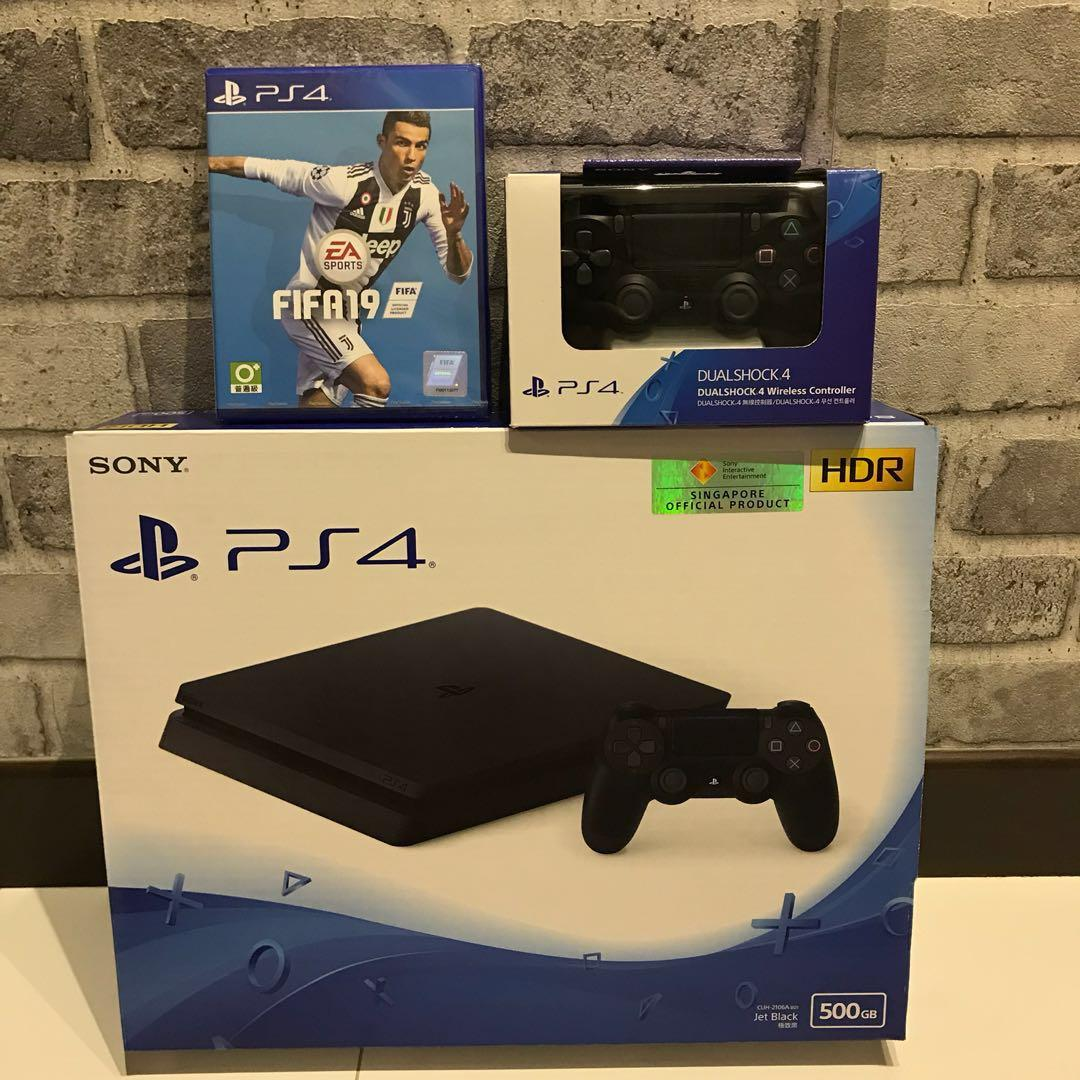 NEW] PS4 Slim FIFA 19 + Additional Controller Bundle, Toys