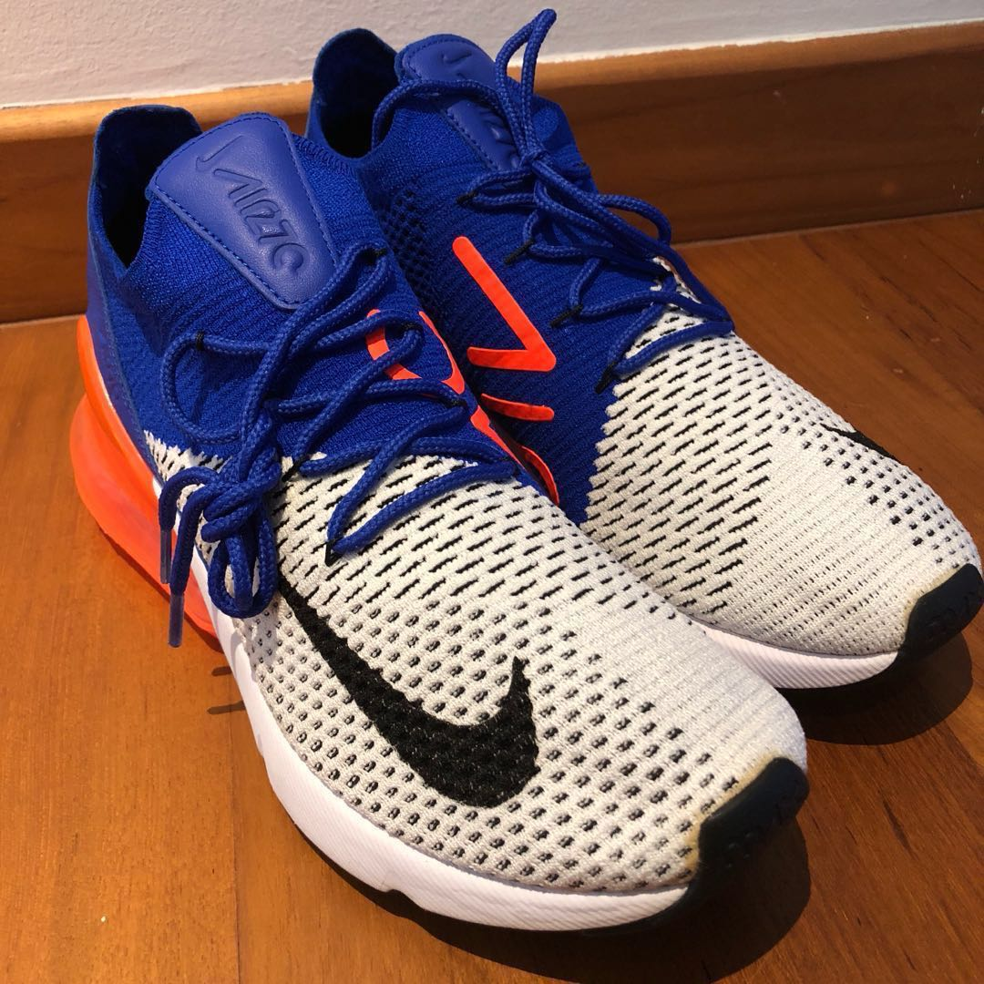 new products be1bb 1fc6e Nike Air Max 270 Flyknit Racer Blue Total Crimson