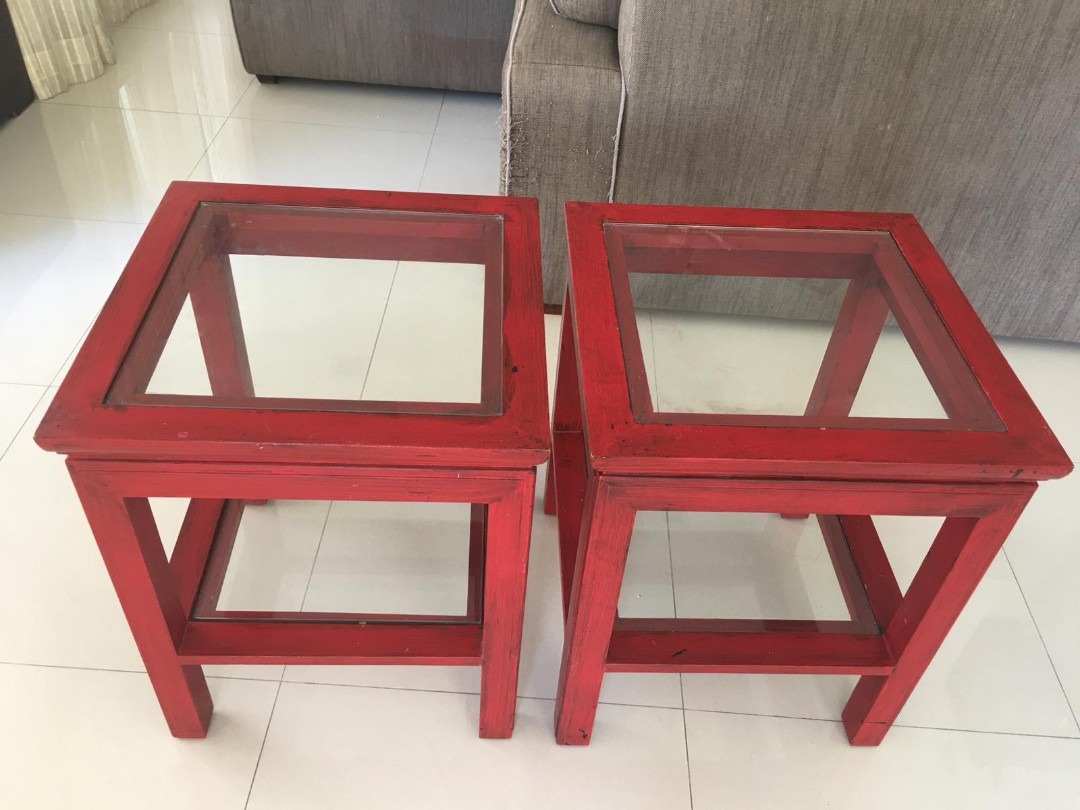 Pair of painted hardwood bedside tables red glass top furniture tables chairs on carousell