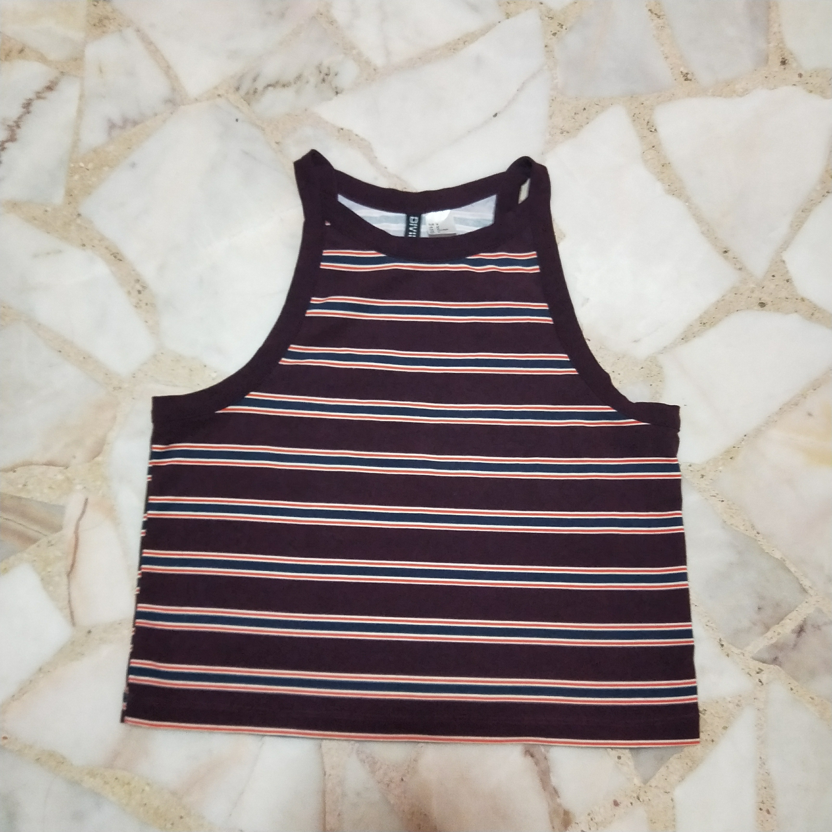8779274cb44a0 Parallel Striped Maroon Halter Top, Women's Fashion, Clothes, Tops ...