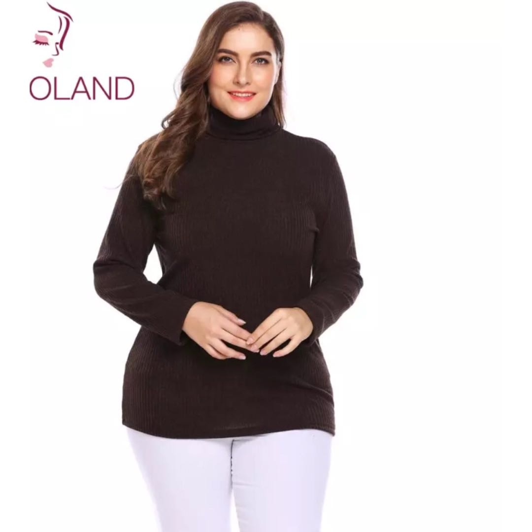 c0d54dc480c2 PO) L-4XL Plus Size Women Pullover Sweaters Autumn Winter Basic ...