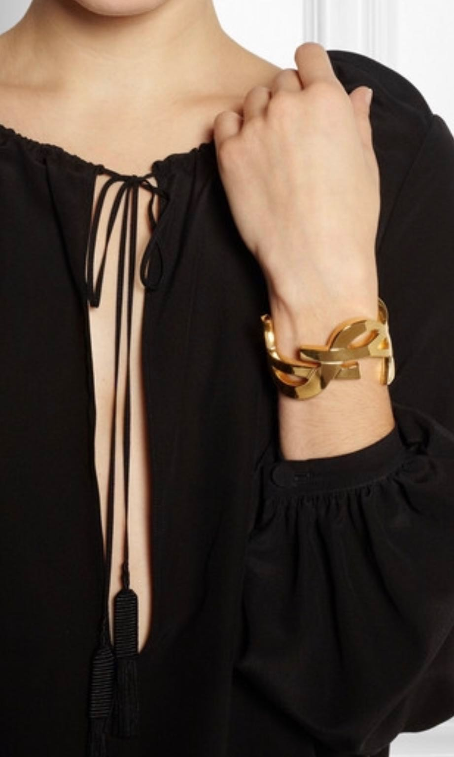 89a3274c330 Saint Laurent YSL gold cuff bracelet, Women's Fashion, Jewellery on  Carousell