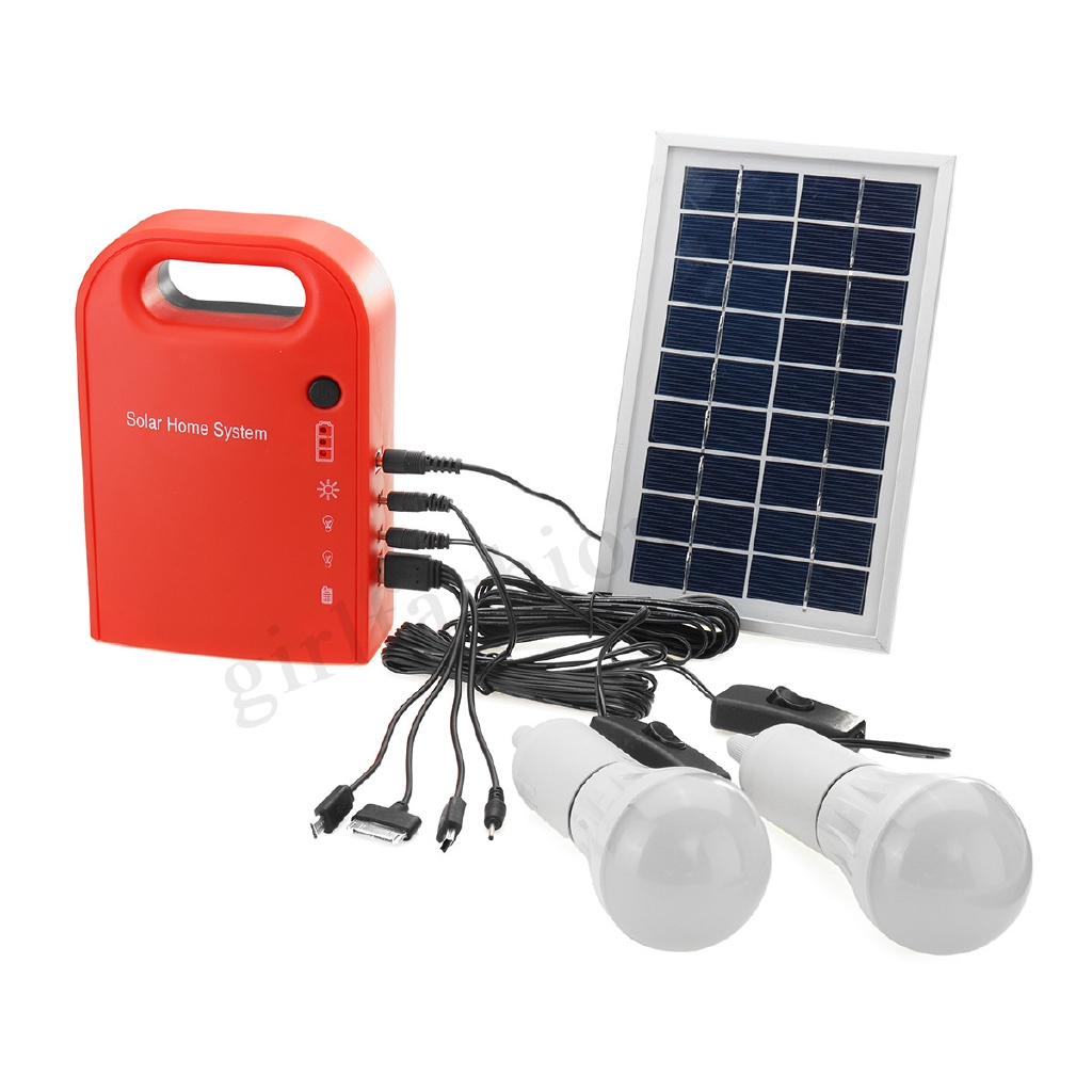 Solar Panel Generator LED Light Bulb USB Charger Home System Kit Outdoor