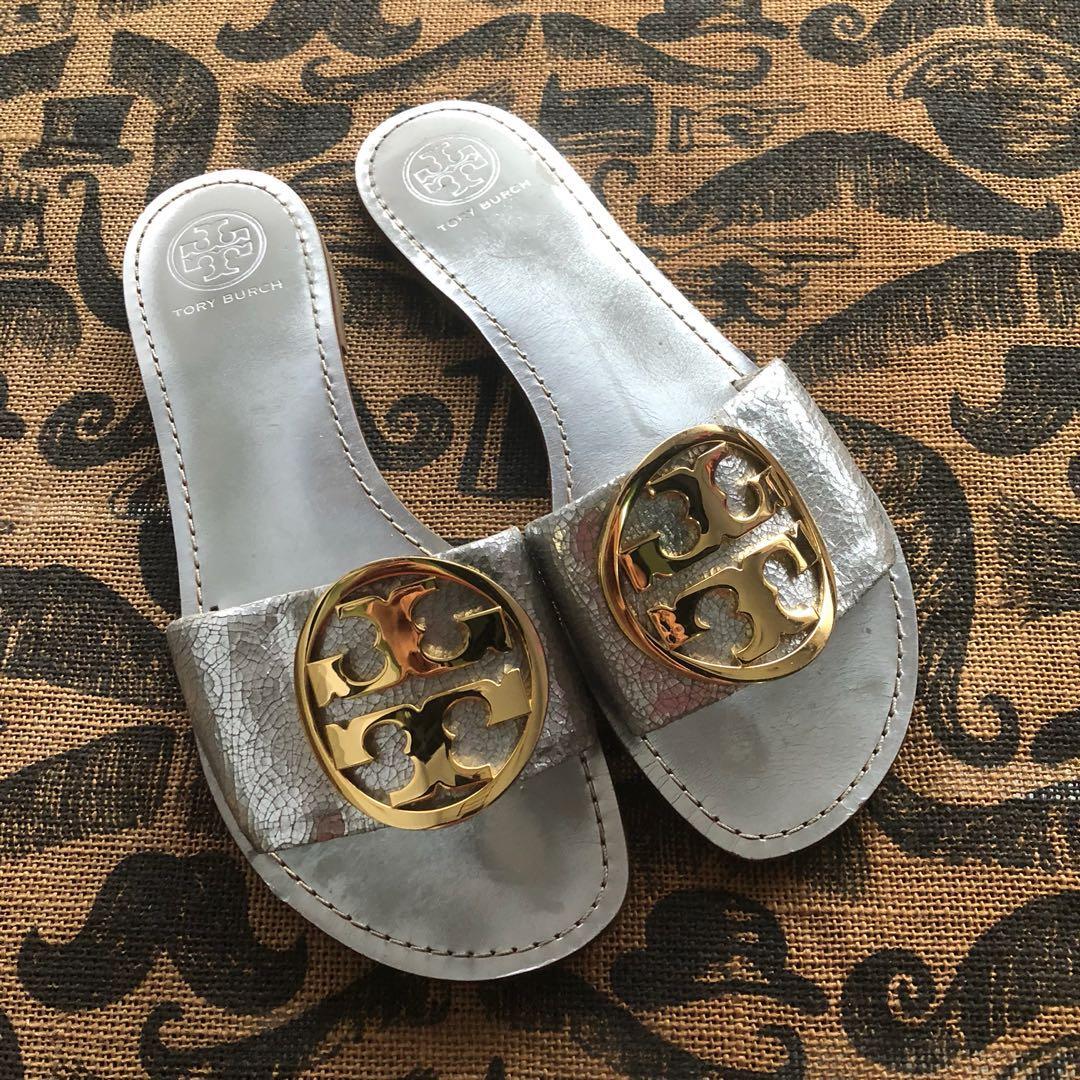 5c6d2f9dbf3f Tory Burch Metallic Slip On Sandals