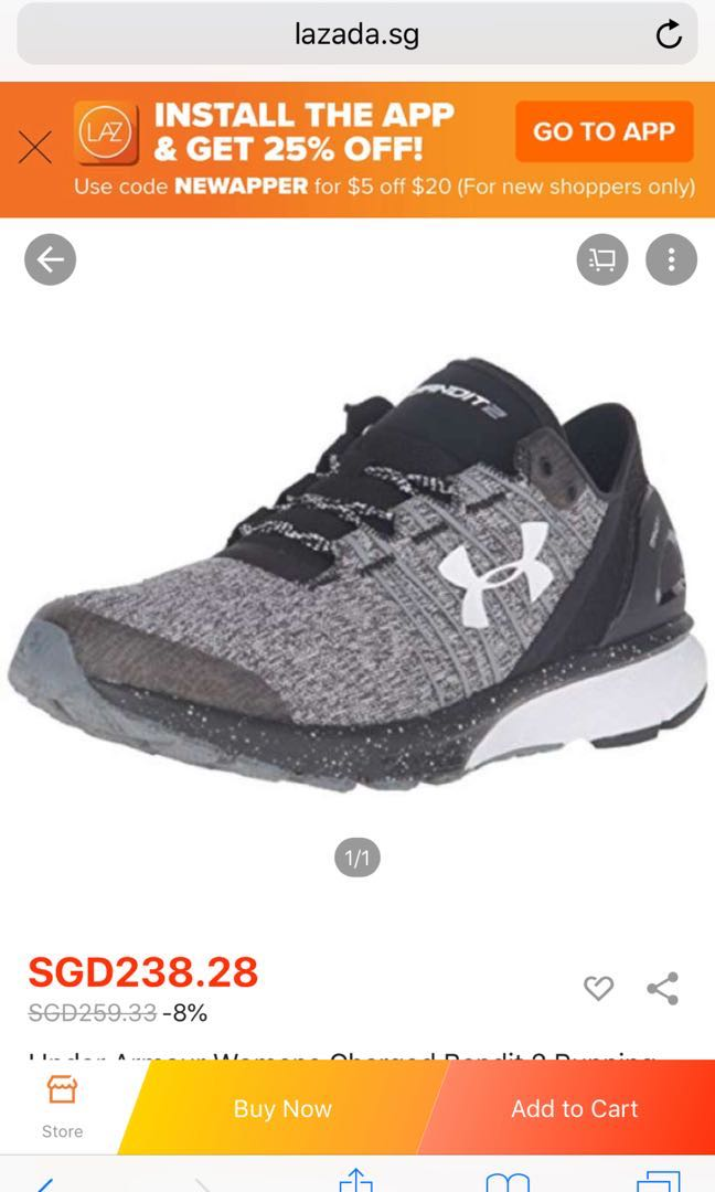 buy popular 5845c 15cc9 UA Charged Bandit 2 Running Shoes US9