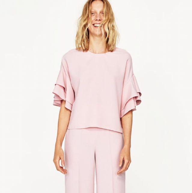 76388b8ba65962 Zara New Woman Embroidered Shirt White Ruffled Top Blouse Xs Xl Ref 5598. Zara  Ruffle Sleeve Blush Pink Top Blouse Women S Fashion Clothes