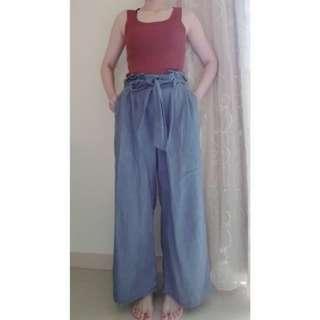 🚚 GU 綁帶寬褲M(淺藍)