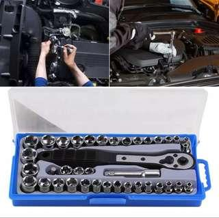 38 Pcs Multi-functional 3/8 imperial /Metric Ratchet Driver Socket Wrench Tool