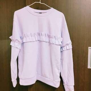 🚚 粉紫荷葉設計上衣