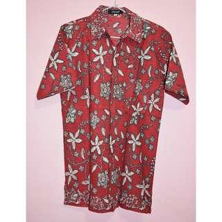 MOYYA Red Basic Batic Shirt