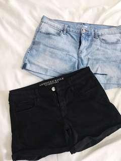 AE Black Shorts + Old Navy Jean Shorts (Sz 10)