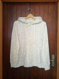 Uniqlo White Misty ZipHoodie sz XL fit L