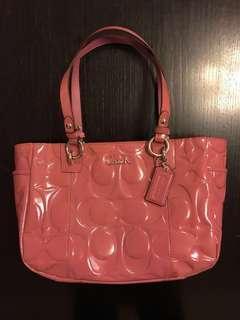 COACH rose patent handbag
