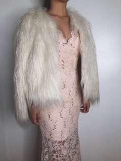 Pink long gown with faux fur for rent