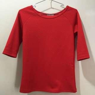 Stretch Red 3/4 Sleeve Top Blouse Shirt. #SEPPPAYDAY