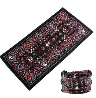Red skull paisley headscarf multifunction bandana