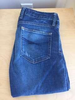 Distressed Straight Leg Jeans - Size 00
