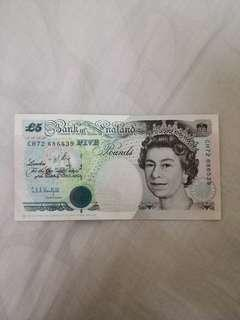 England Old Bank Note 1990 Kentfield Chief Cashier 5 Pounds