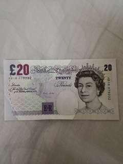 England Old Bank Note 1999 Merlyn Lowther Chief Cashier 20 Pounds