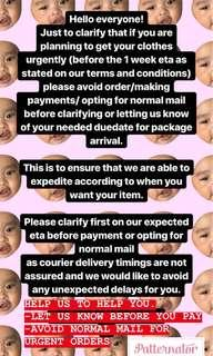 Terms and Conditions for urgent orders