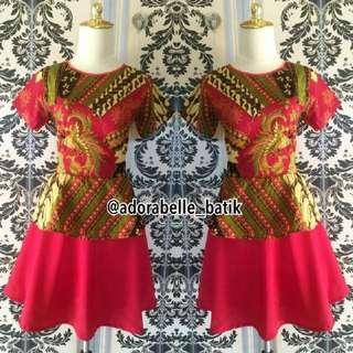 Dress batik merah cerah