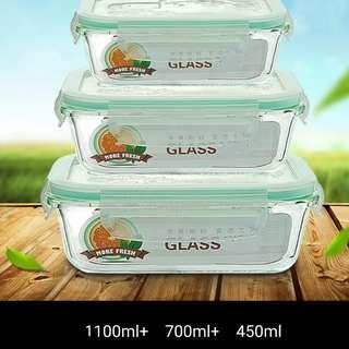 玻璃食物盒 (一套3件, 小中大各一個)  glass box      jjjj