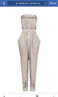 Misha Collection Silver/Bronze Tapered Leg Jumpsuit