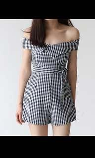 Checkered Off Shoulder Romper in Black and White