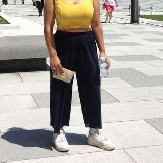 Creped culottes (navy blue)