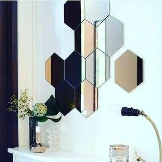 Promo!!!! Kaca cermin hexagonal