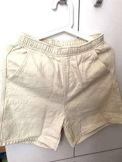 全新 米色牛仔短褲 有袋