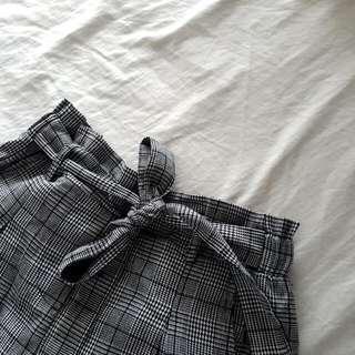 Black Checkered Paper Bag Shorts