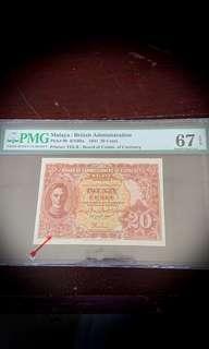 Rarer Variety B Malaya 20 Cents