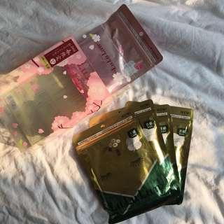 Lululun Premium Face Mask/Sheet Mask 5 Packs(LIMITED EDITION) - Kyoto Premium Green Tea dan Sakura Cherry Blossom (Sakura)