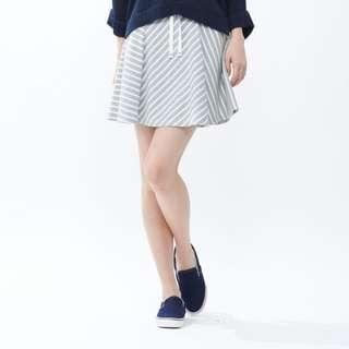 Uniqlo Cotton striped flare skirt gray and white