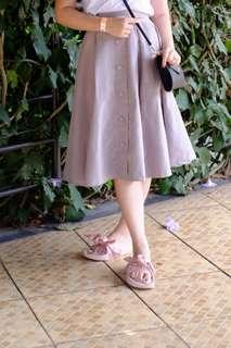 Grey button midi skirt