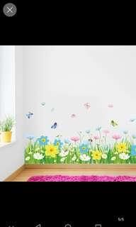 Flowers Baseboard Wall Sticker Bedroom Butterfly Restaurant Living Room Background Wall Decoration Sticker Wallpaper Self-adhesive Waterproof